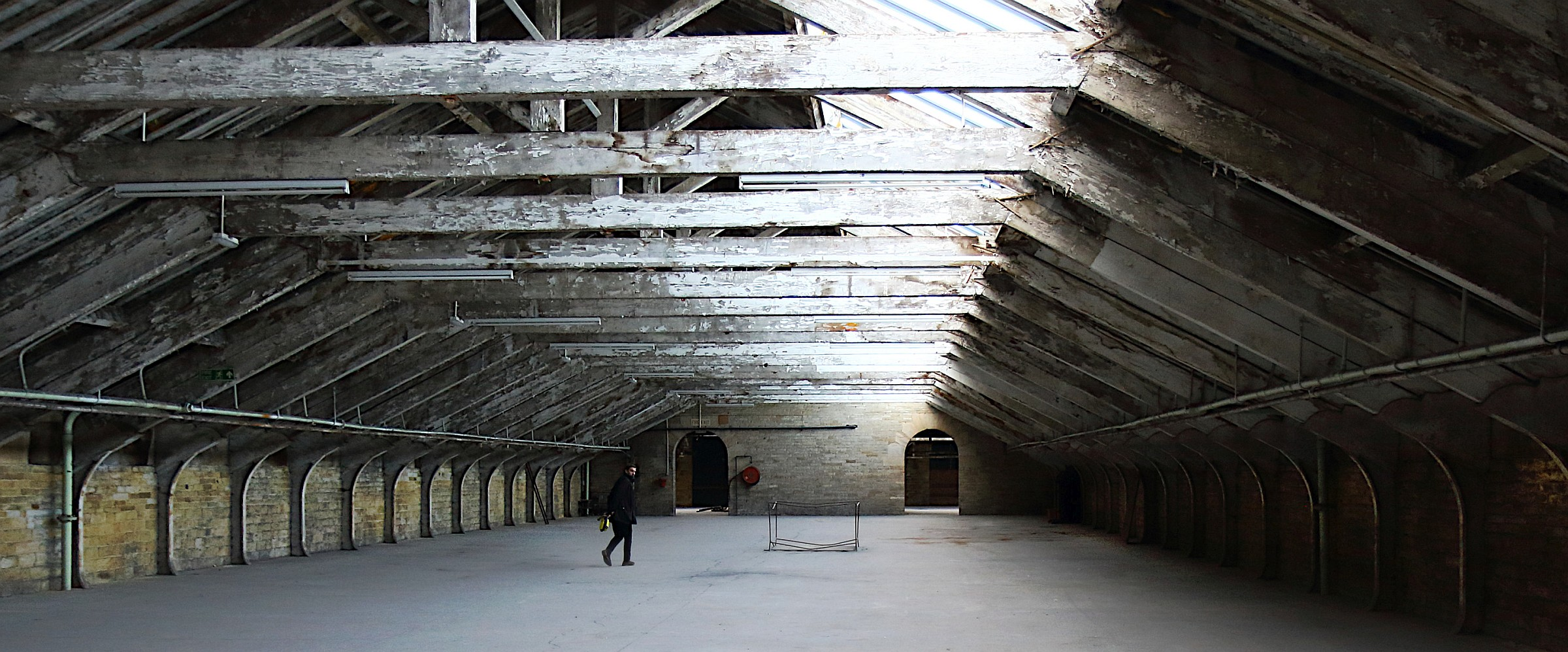 Timber roof structure in Salts Mill